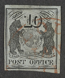 United States: Postmasters Provisional St Louis 1845-46 10 cents, used.